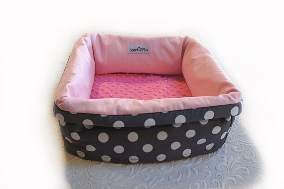 Polka Dot Pet Bed Small 14 Inch Square Gift Ready Dog Cat Couture Artistic Travel Collapsible Washable