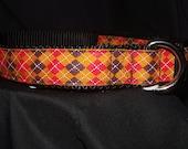Orange, black, and red argyle adjustable collar or Martingale
