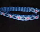 Pink and Blue argyle adjustable collar or martingale