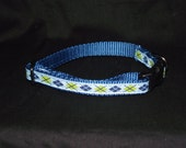 Blue and green argyle adjustable collar or martingale