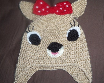 Crochet Hat, Clarice Earflap hat, Made to order