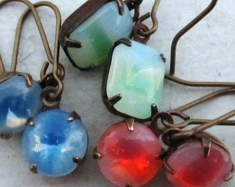 3 pairs Sweet Confections Earrings Sabrina Glass Opal Jewel Earrings Blue, Green, and Orange Swirls Earrings. Last Three Pairs!!!