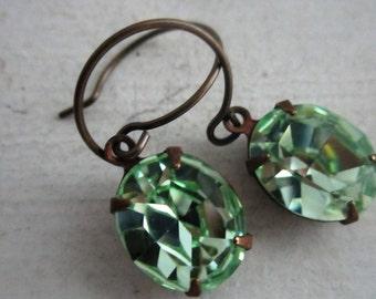 Light Green Earrings. Light Mint Green Earrings. Swarovski Oval Chrysolite Rhinestone Earrings With Circular Ear Wires.