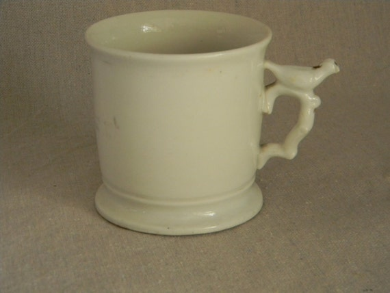 Vintage Antique Cup / Mug with Bird Whitsle Handle White