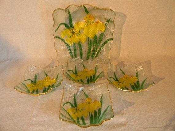 Vintage Mid Century 5 Piece Salad Set Glass Daffodil