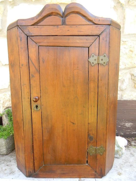 Antique Pine Corner Cupboard Cabinet Hanging By