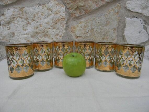 Vintage mid century culver valencia glassware set gold leaf - Vintage valencia ...