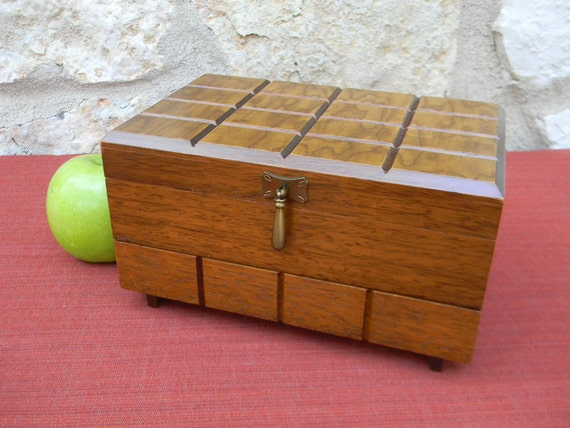 Vintage Mid Century Modern Walnut Jewelry Box with Drawer and Mirror