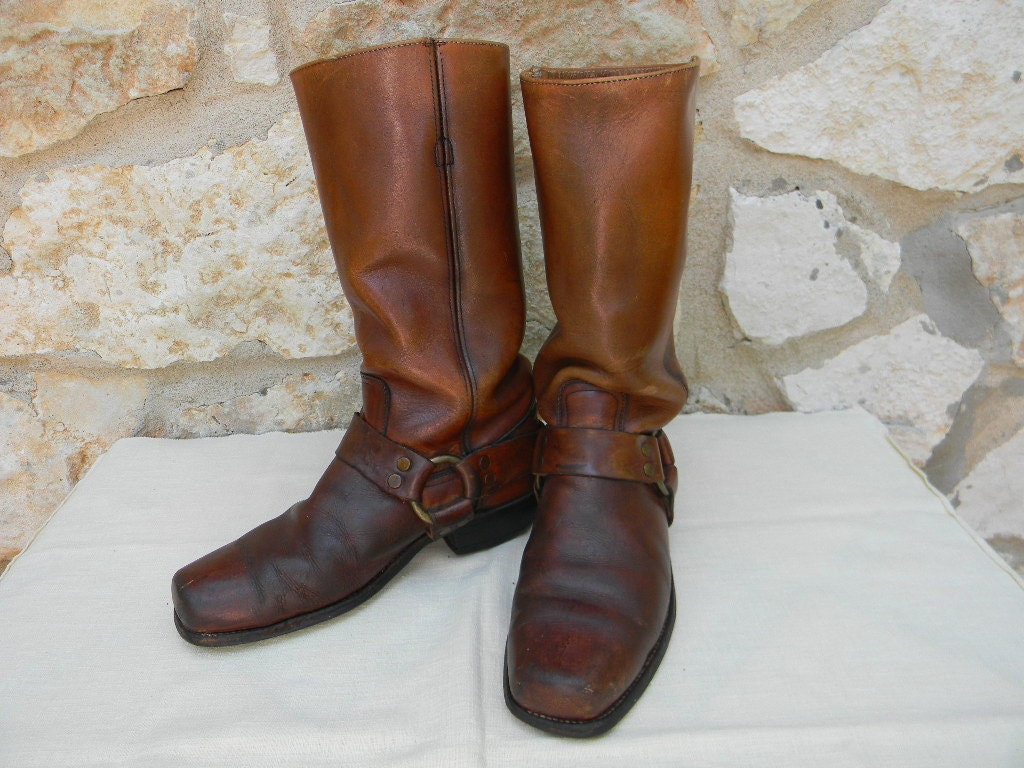 vintage mens frye harness boots brown size 9