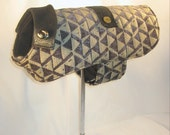 Tweed Dog Coat. X Small. Black Velveteen & Gold Tweed with Black Faux Leather Collar and Belt.