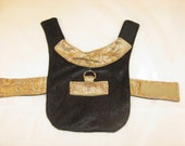 Formal Evening Dog Jacket. XX Small. Elegant Black Crushed Velvet and Gold Brocade Jacket.