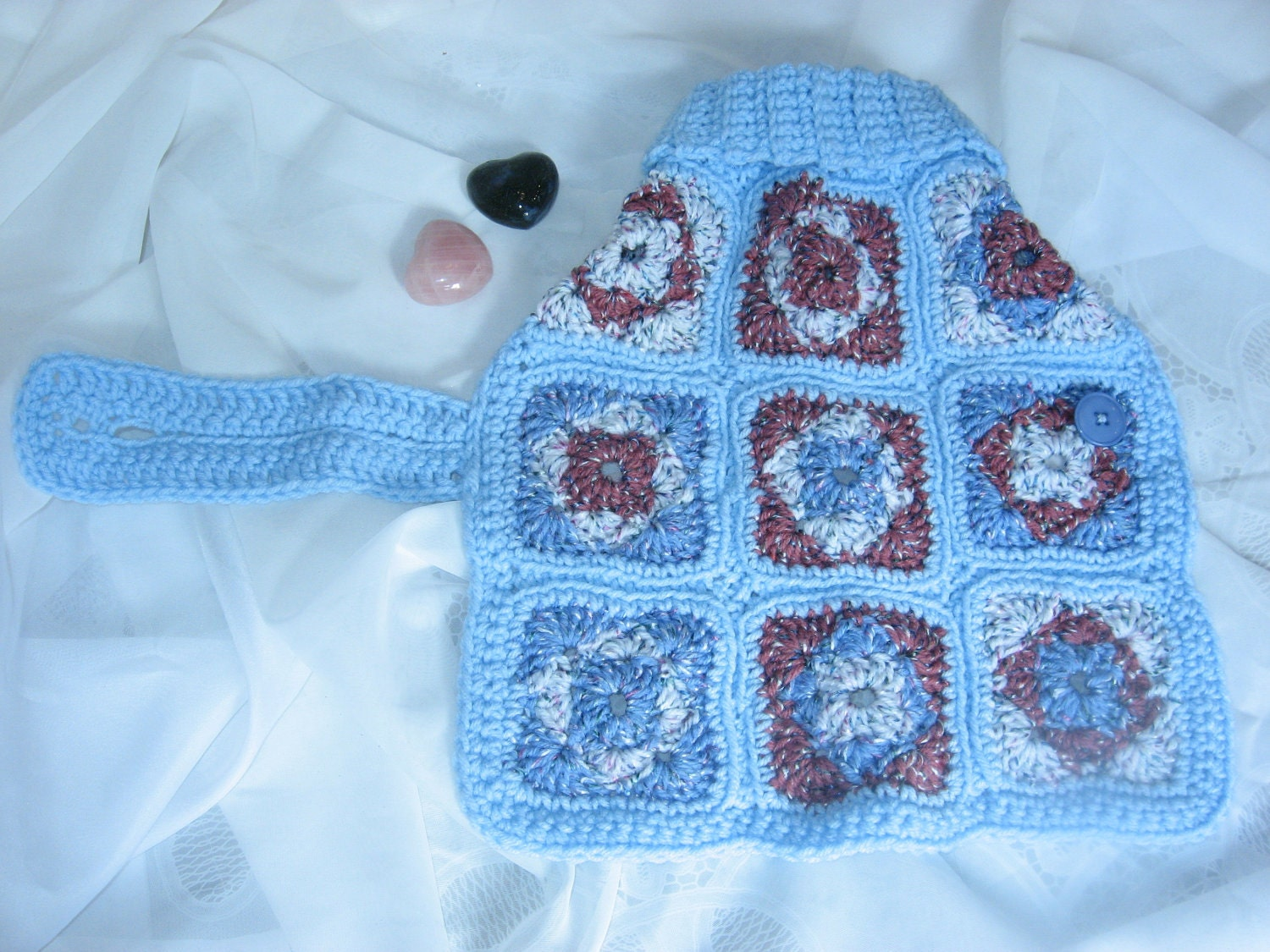 Free Crochet Granny Square Dog Sweater : Dog Sweater. Medium. Retro Sky Blue Granny Square Crocheted