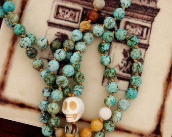 African Turquoise Knotted Mala Beads - Prayer Beads - Mantra Meditation