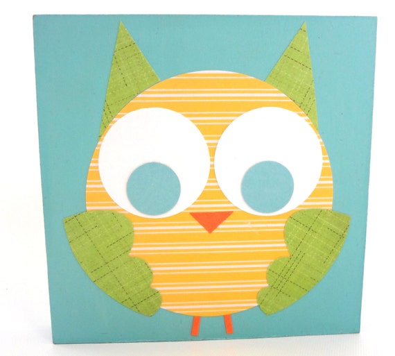 RESERVED for msmar84: Set of Three Owl Themed Handmade Children's Wall Art Squares