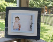 Distressed 8 x 10 Wood Picture Frame Nautical or Boy's Room Navy Blue