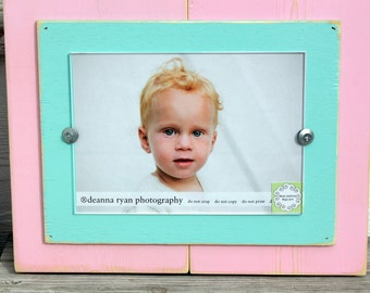 Distressed Single Pink and Aqua 5 x 7 Picture Frame or Pick Your Colors
