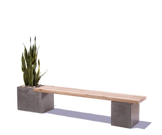 Concrete wood planter bench Concrete and wood furniture