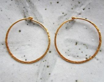 SALE!!!1 Pair Hammered Vermeil Hoop Earrings--30 mm