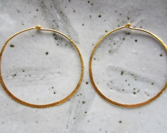 1 Pair 24K Gold Vermeil Hoop Earrings--40 mm