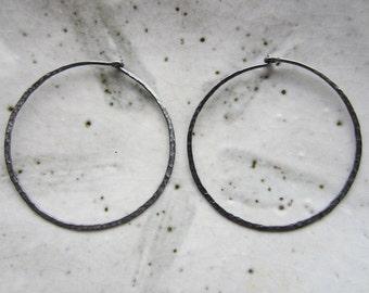 SALE!!! 1 Pair Hammered, Oxidized Sterling Silver Hoop Earrings--40 mm