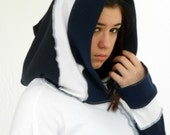 Jam Custom Designs Upcycled Jersey Hoodie in Navy and White-READY TO SHIP