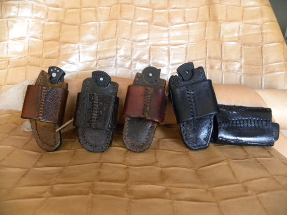 Knife sheaths made from wet formed leather exotics