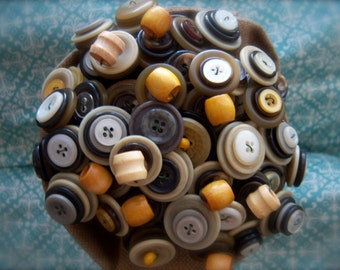 Button Bouquet in Modern Neutrals