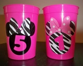 MINNIE MOUSE BIRTHDAY party zebra print favor cups (set of 5)