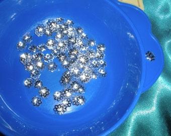 100 Bead caps, silver color very pretty
