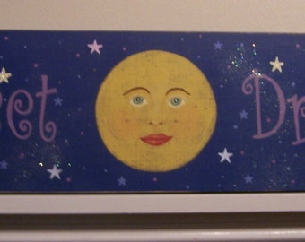 Sweet Dreams victorian moon hand painted wood sign antiqued sign