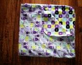 Minky Baby Girl Blanket - Purple Owls