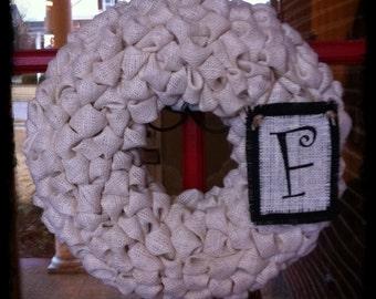 Custom Monogrammed 18 Inch Burlap Wreath-ready to ship