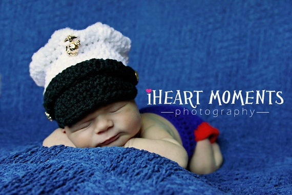 US Marine Corps Dress Blues Hat and Diaper Cover SET