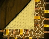 Minky lovey yellow tag blanket with giraffe spots