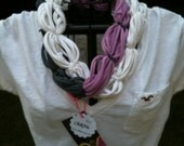 Upcycled GREY, LAVENDER, & WHITE t-shirt infinity scarf