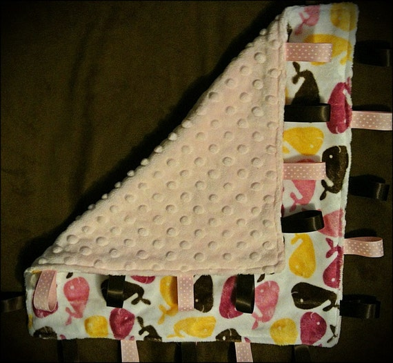 Minky lovey baby pink tag blanket with whales