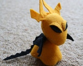 Tiny Orange and Black Felt Dragon Plushie
