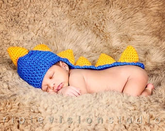 Newborn Dinosaur Blue and Orange Spikes Tail Crochet Hat
