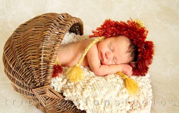 Little Lion Set Bonnet Hat and Diaper Cover With Tail Crochet Newborn