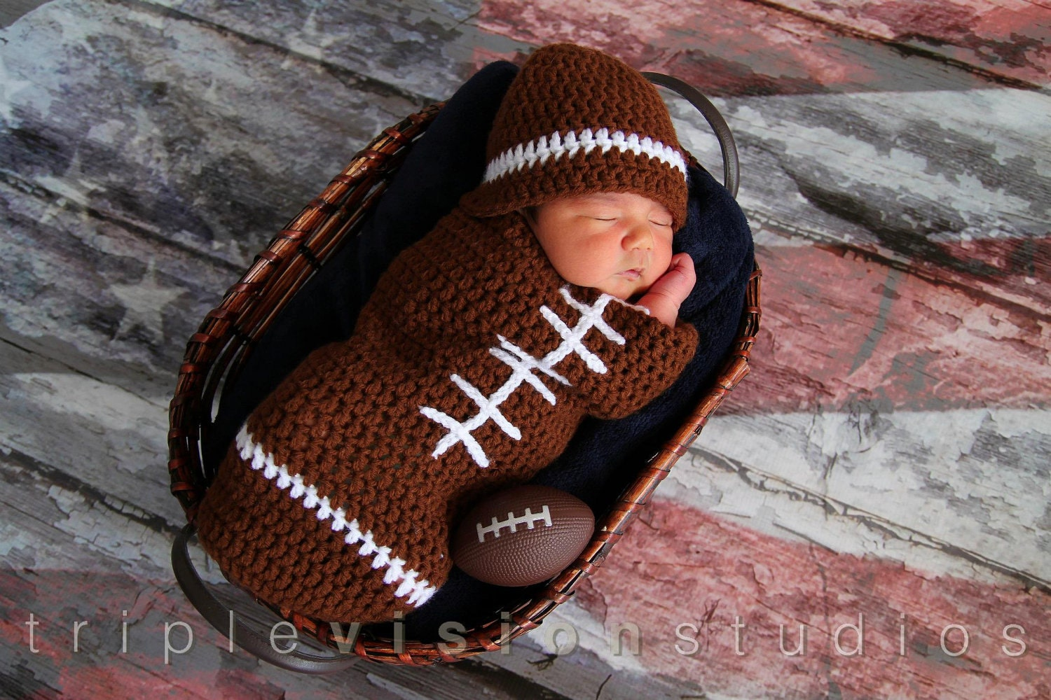 Crochet Pattern Baby Hat Free : Newborn Football Crochet Hat And Cocoon Photo Prop Set