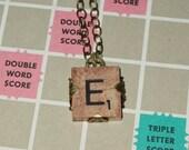 Vintage Scrabble Tile Letter E Monogram Initial Necklace Wrapped in Antiqued Brass Filigree