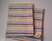 SALE Kitchen Towel Set, Organic Cotton, Eco Friendly, Multi Color Dots