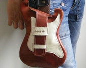 Leather hip bag.Strato.Handmade leather bag. Eco sustainable leather guitar shaped hip bag