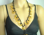 Crochet oya lace yellow necklace with beads