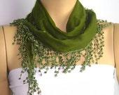 Olive green scarf cotton yemeni with green lace fringe