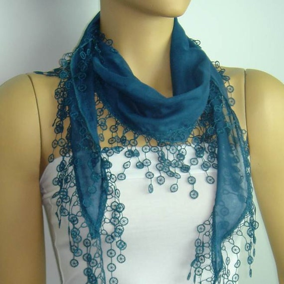 Clearance Summer SALE was 13 now 8 usd NEW  2012 Blue cotton scarf lace fringe