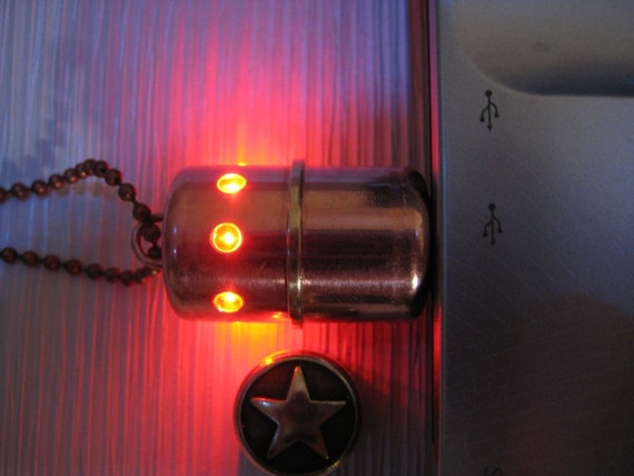 Copper 16GB USB flash drive with 8 LEDs. Steampunk minimalism