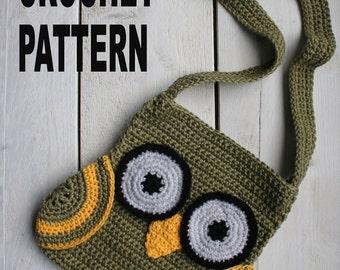 OWL BAG Crochetpattern, Wings, Long Strap, Bag, Easy, Tutorial, Direct Download, PDF, Kidsbag, Kidspattern,Owlbag