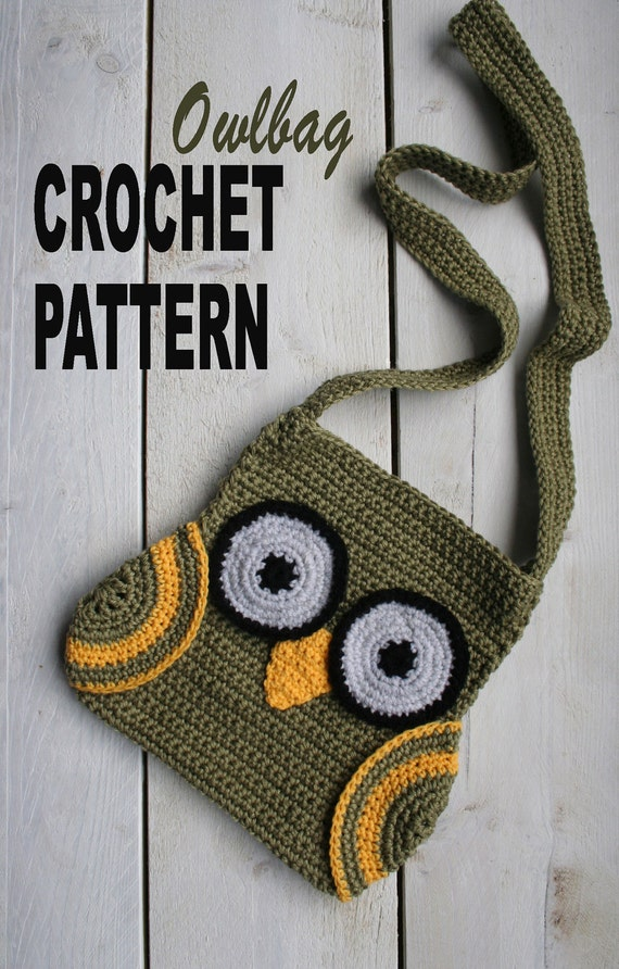 Crochet Pattern Owl Bag, with Wings and long Strap, Easy