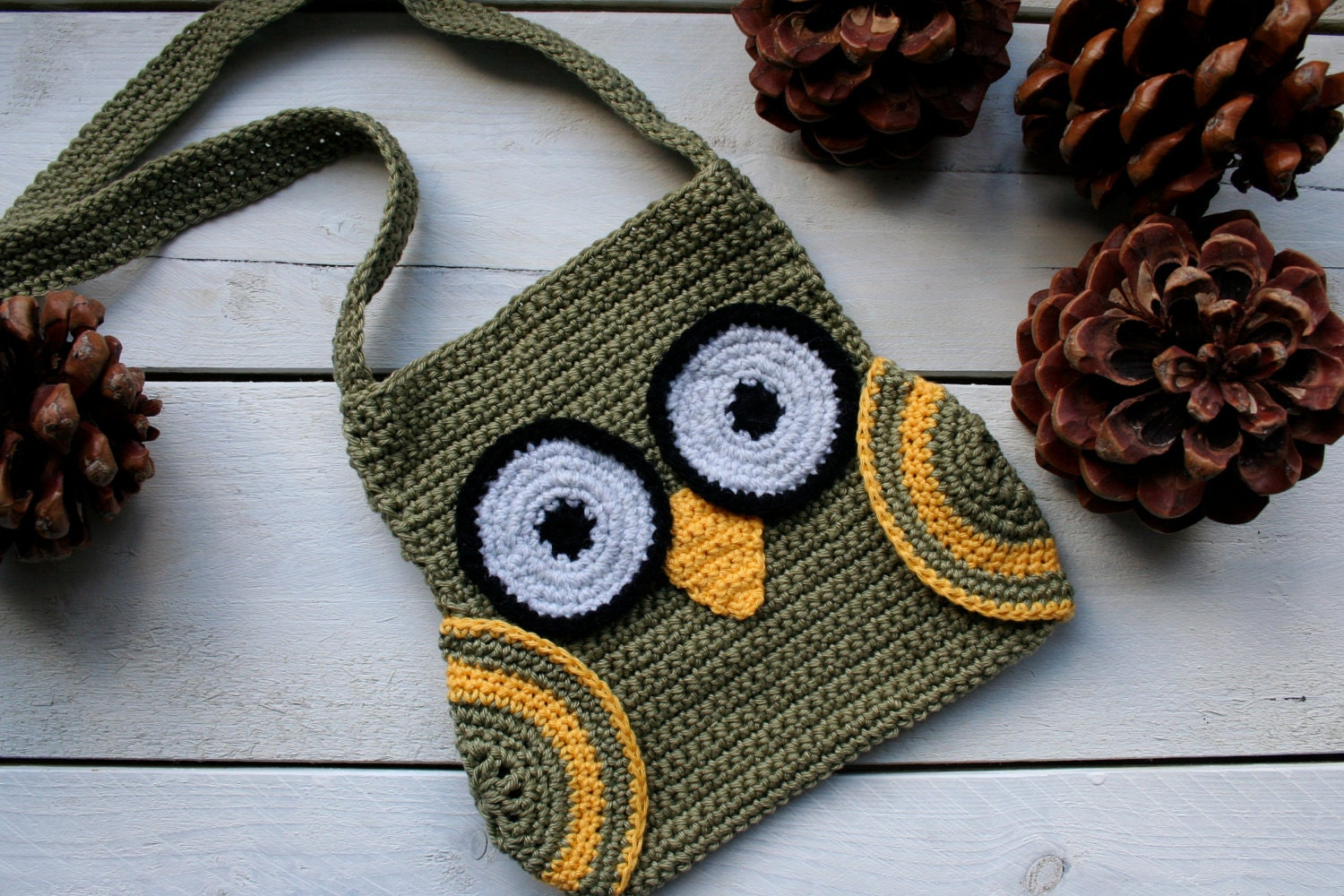 Crochet Owl Bag Pattern Free : Crochet Pattern Owl Bag with Wings and long by prettycrochetshop